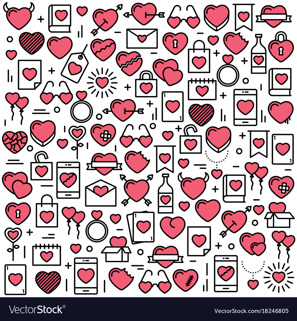 Background with icons and hearts