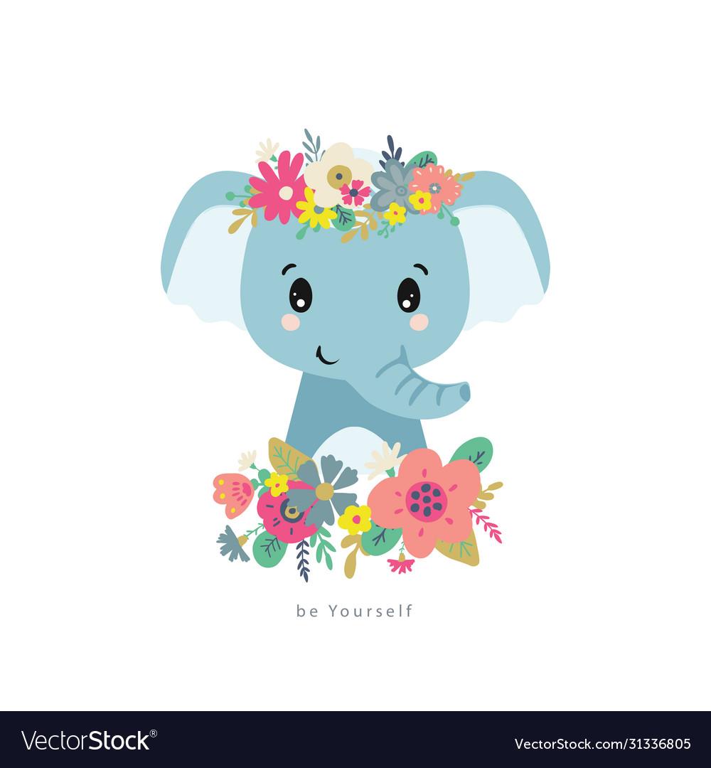 Blue elephant with flowers