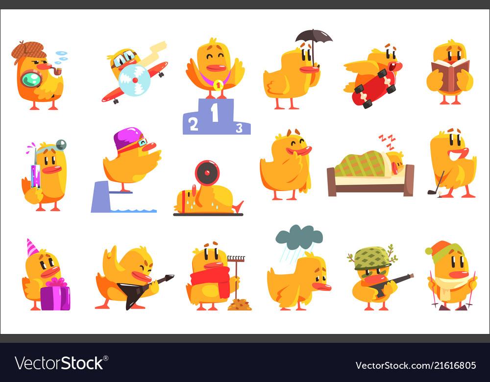 Duckling different activities set of cool