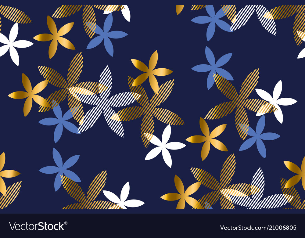 Elegant blue and gold floral seamless pattern