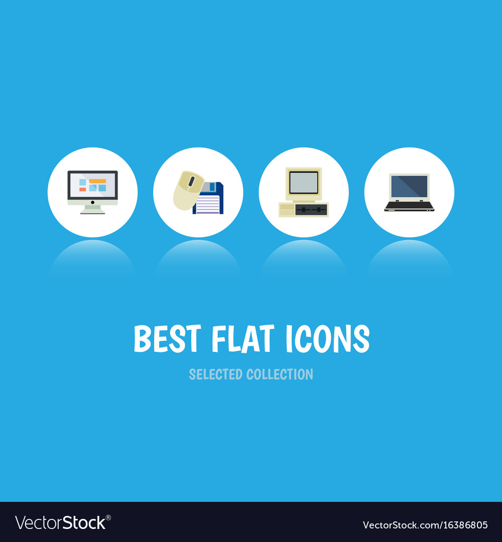 Flat icon computer set of notebook display