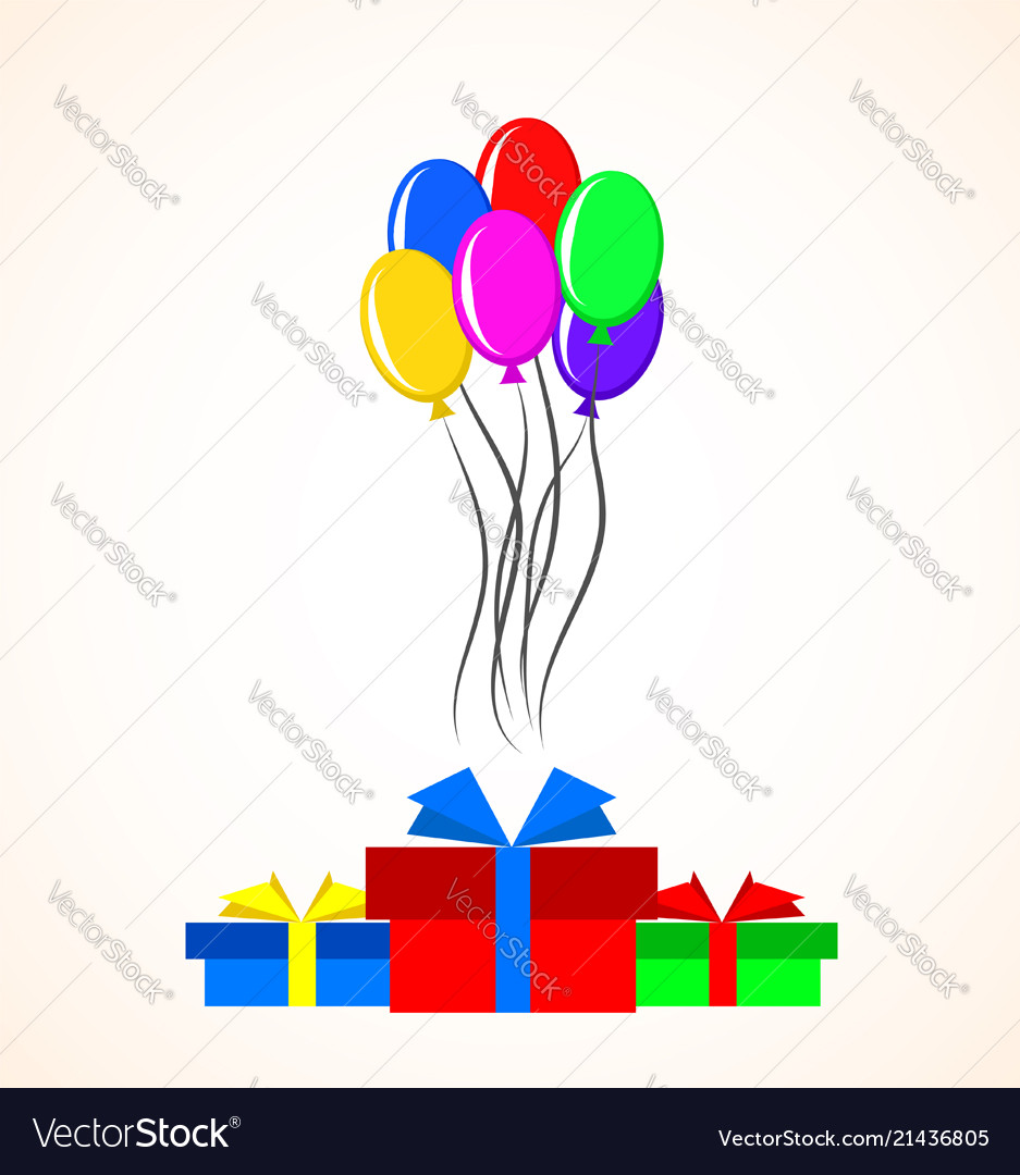 Gift boxes and colorful balloons over white