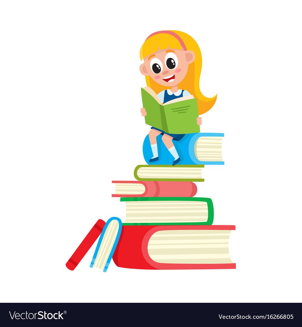 Girl reading sitting on huge pile stack of books