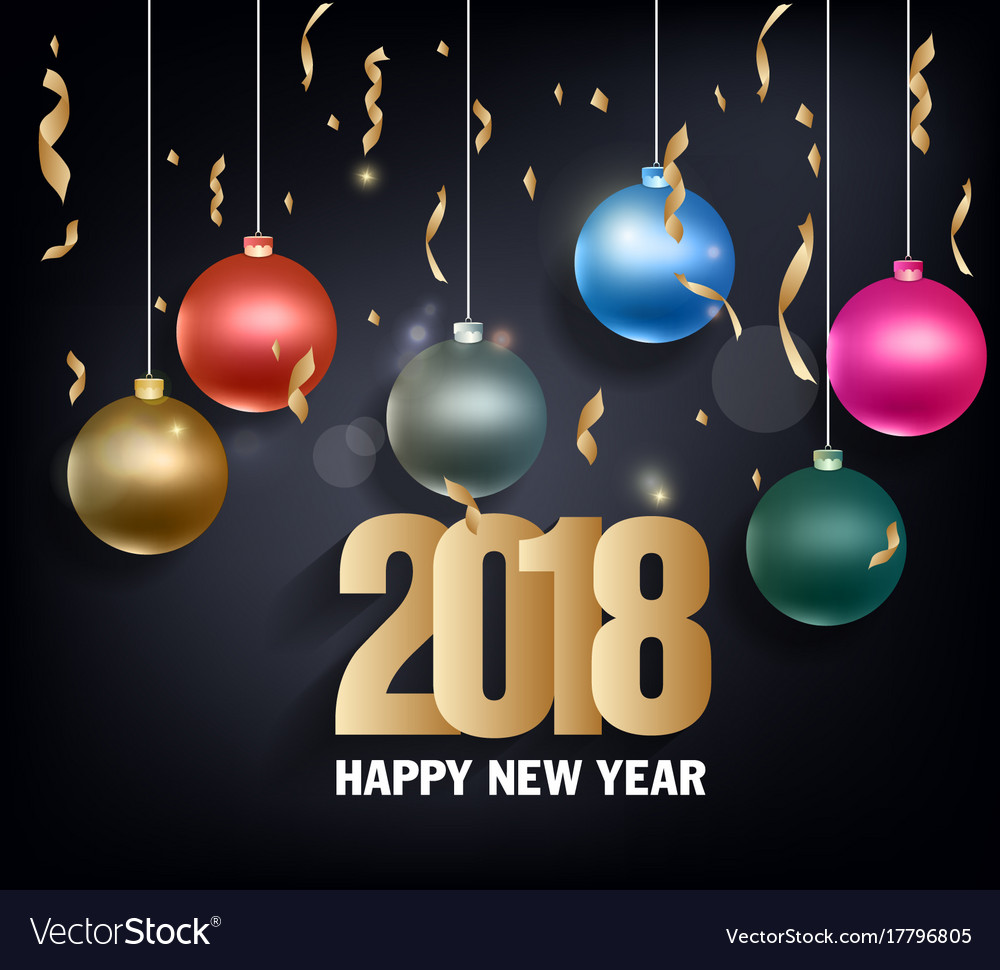 happy new year 2018 greeting card and chinese new vector image