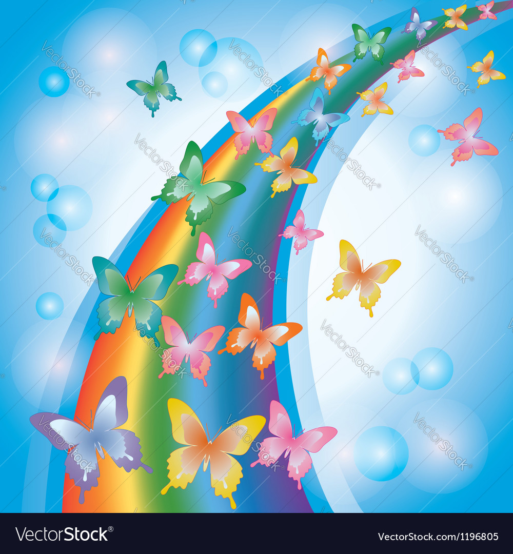Light colorful background with butterflies rainbow