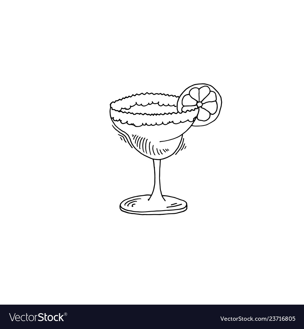 Margarita cocktail sketch drawing icon