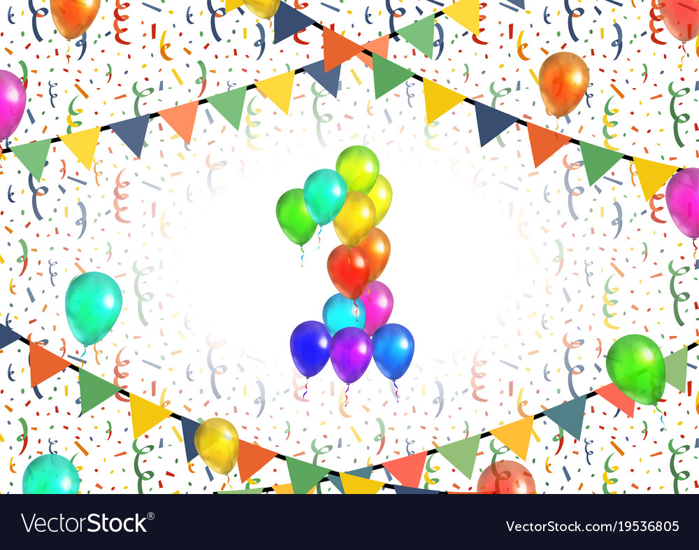 Number one made up from bright colorful balloons