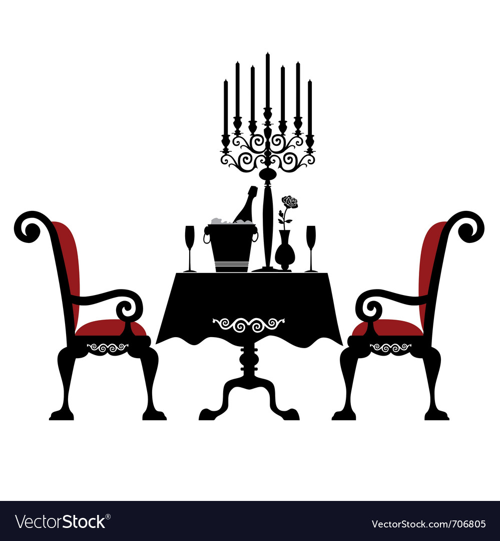 Romantic dinner for two vector image
