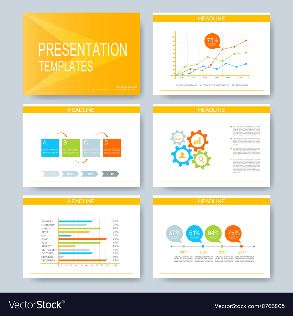 Yellow set of templates for multipurpose