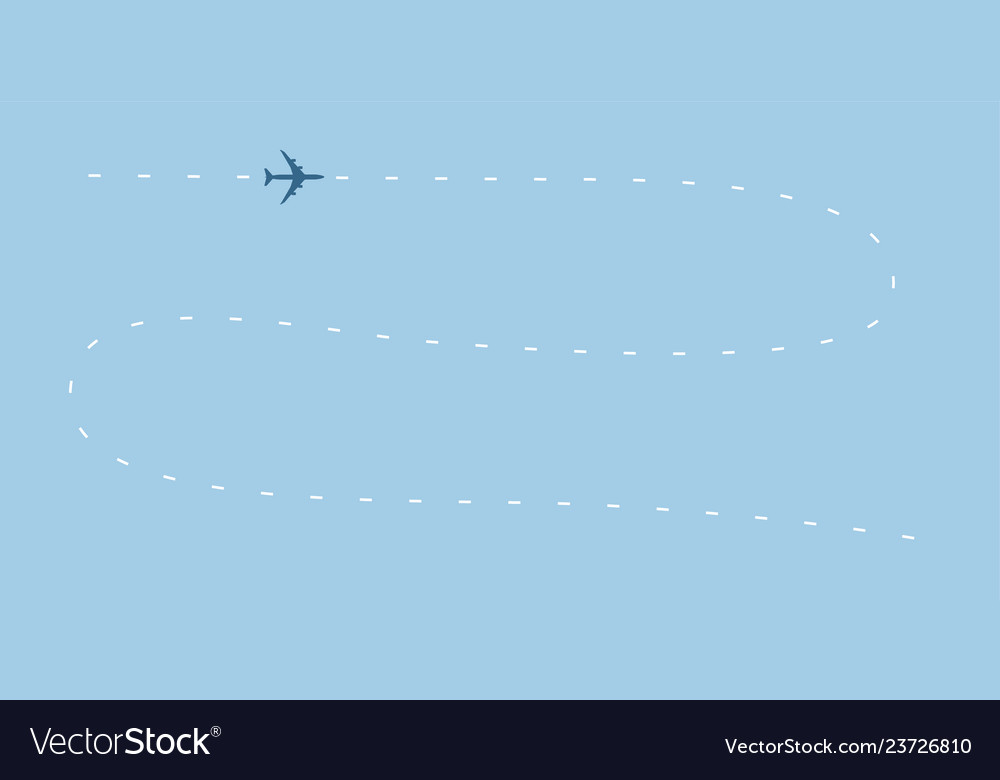 Airplane line path icon air plane flight route