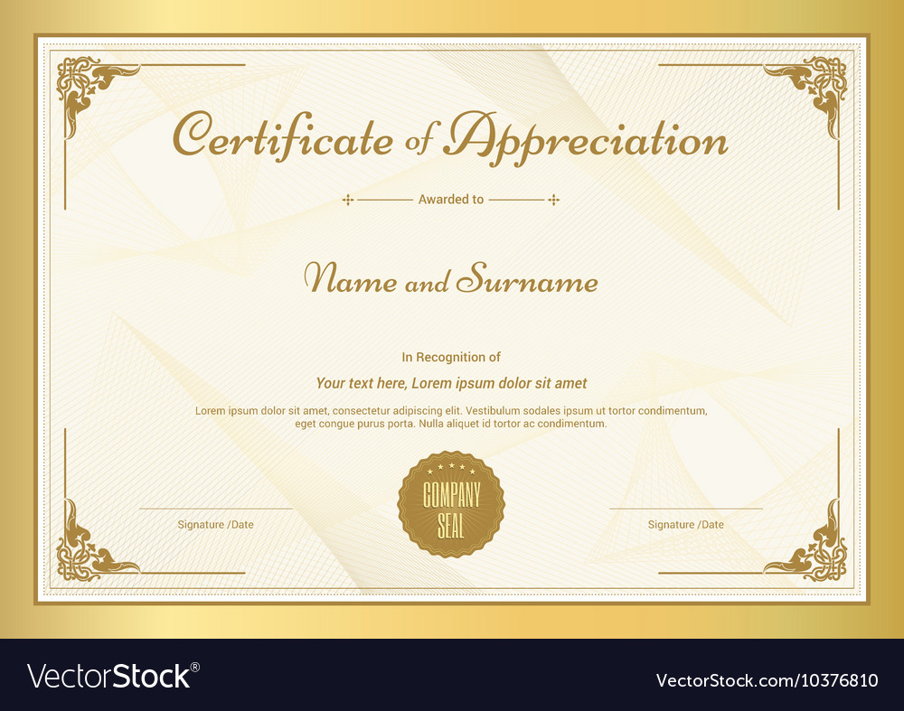 Certificate appreciation template Royalty Free Vector Image Inside Free Template For Certificate Of Recognition