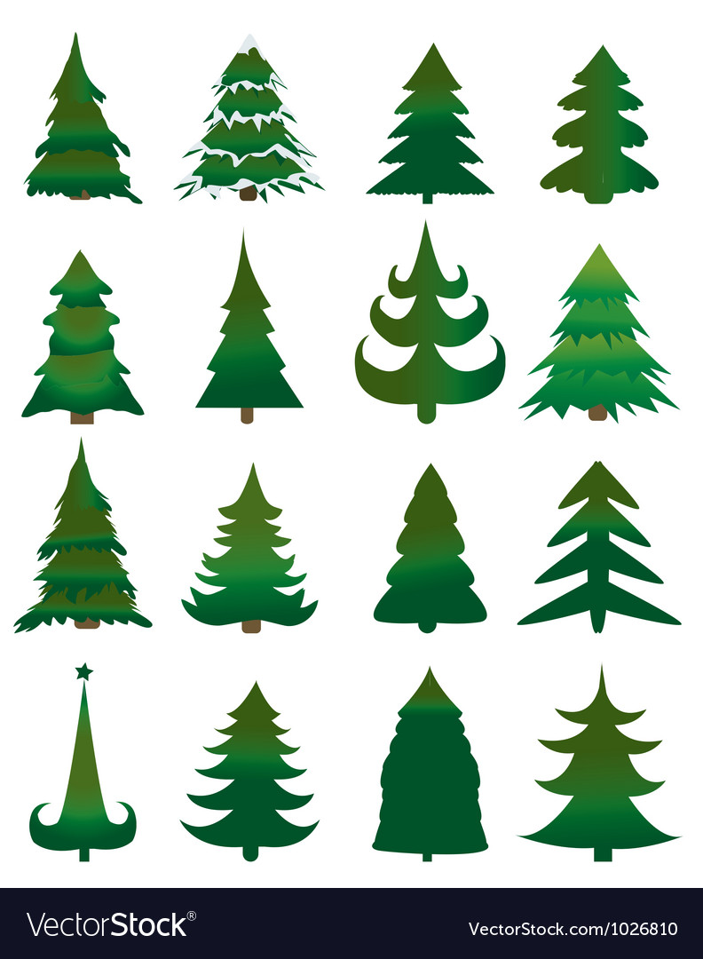 Christmas Pine Trees Royalty Free Vector Image Forest pine, fir and spruce trees cards with copy space for xmas and new year winter. vectorstock
