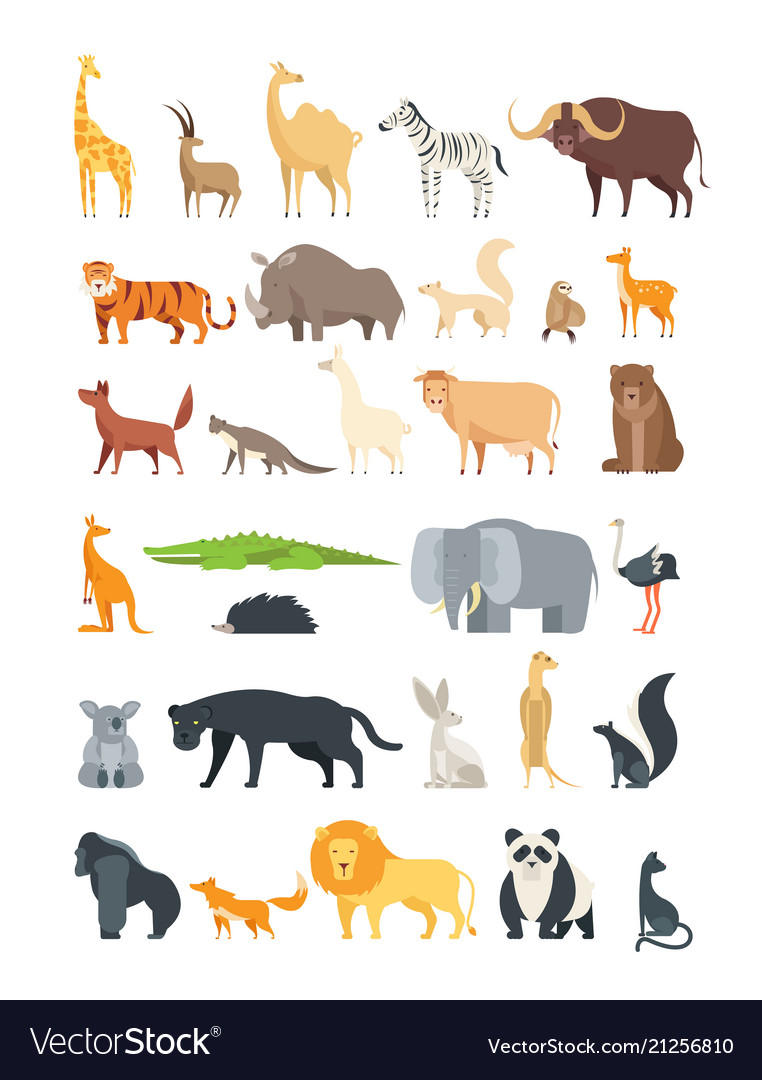 Flat african jungle and forest animals cute