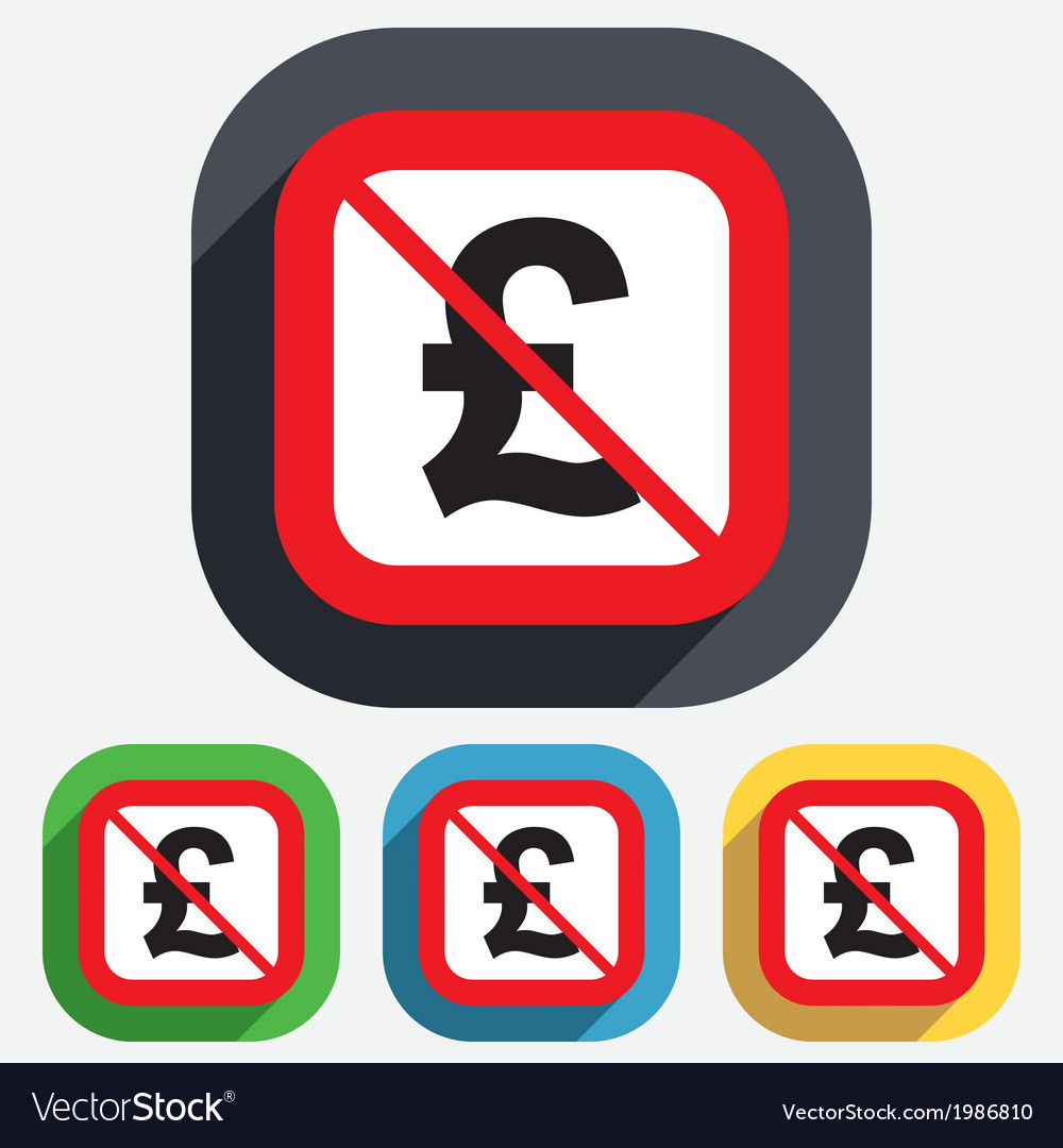 No Pound Sign Icon Gbp Currency Symbol Royalty Free Vector
