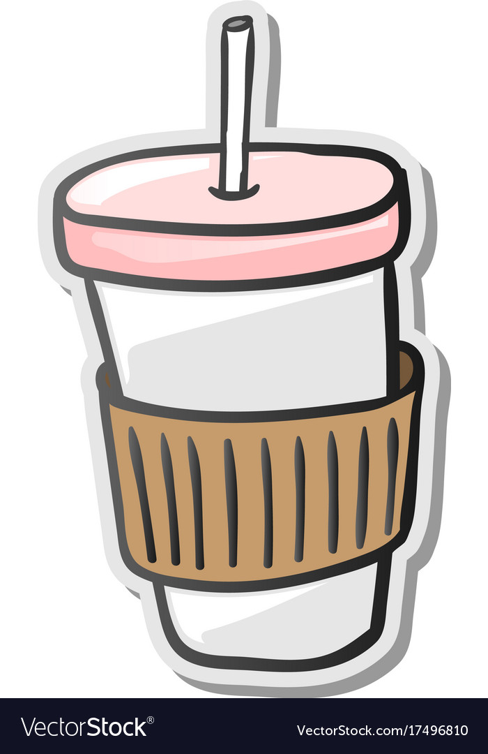 Paper coffee cup sticker vector image