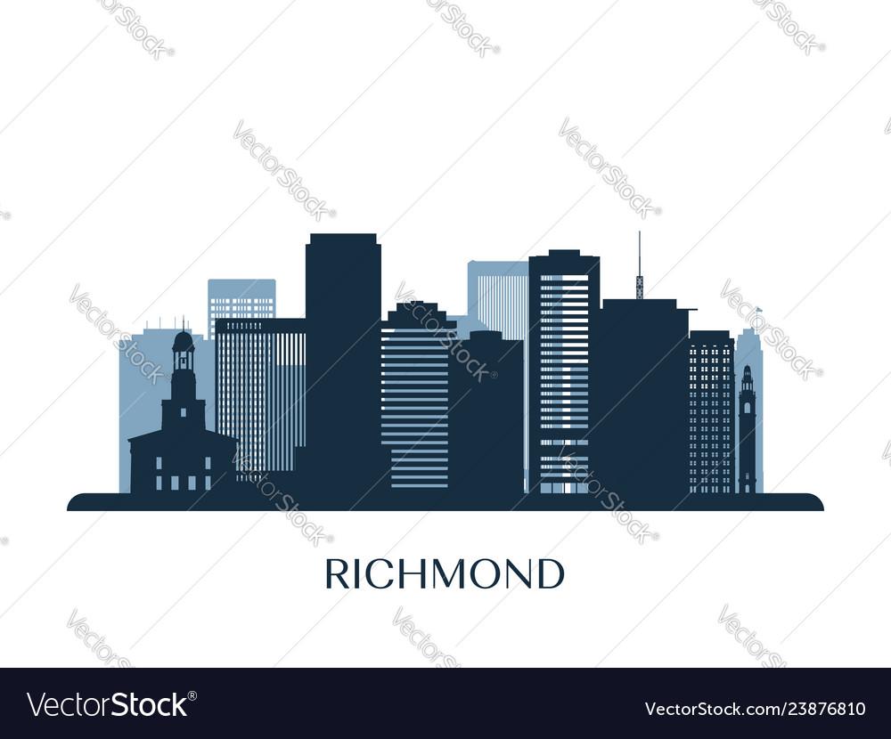 Richmond skyline monochrome silhouette