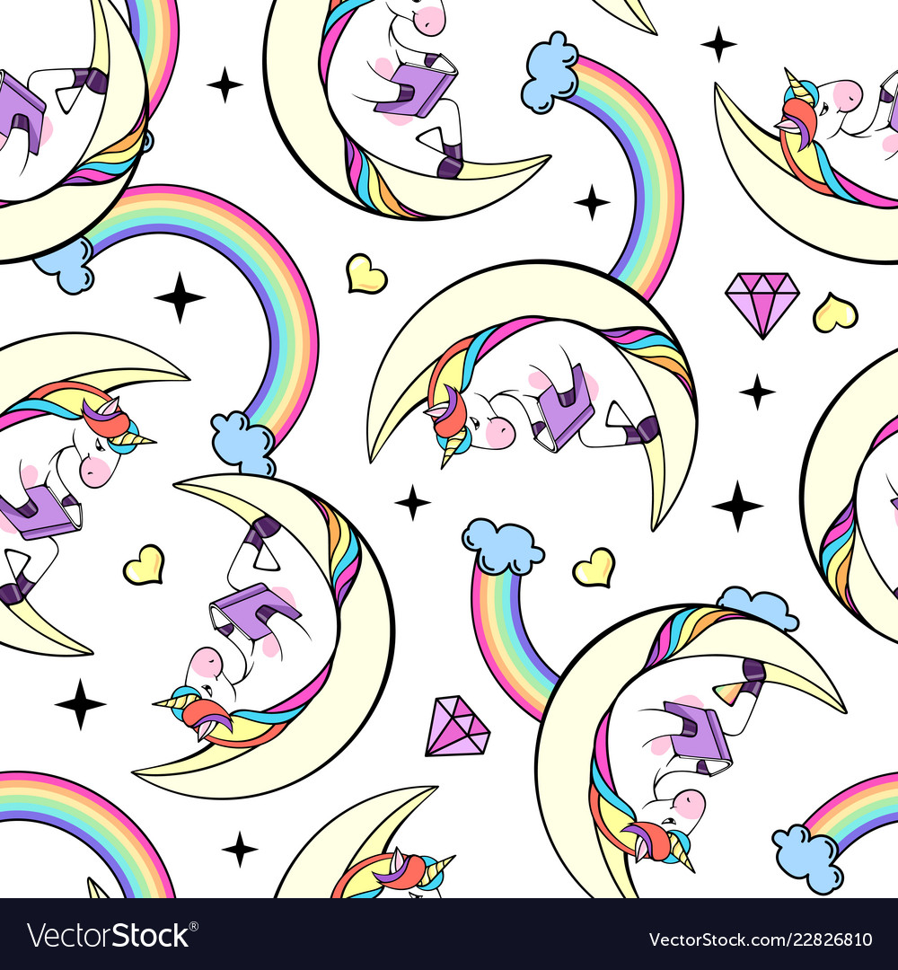 Seamless pattern of fantasy unicorn reading book