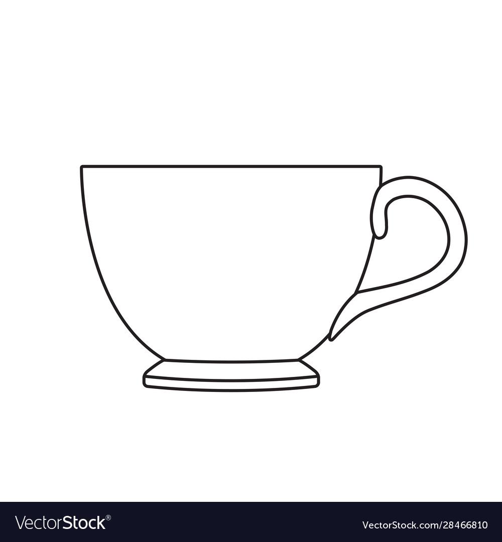 Tea cup outline isolated on