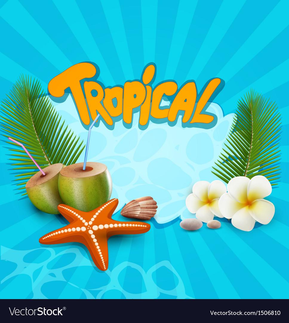 Tropical banner with seashells starfish