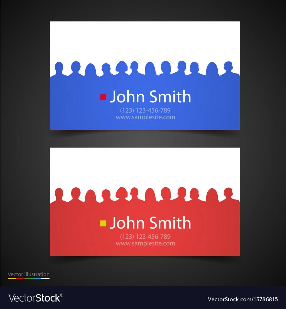Business card with people silhouette