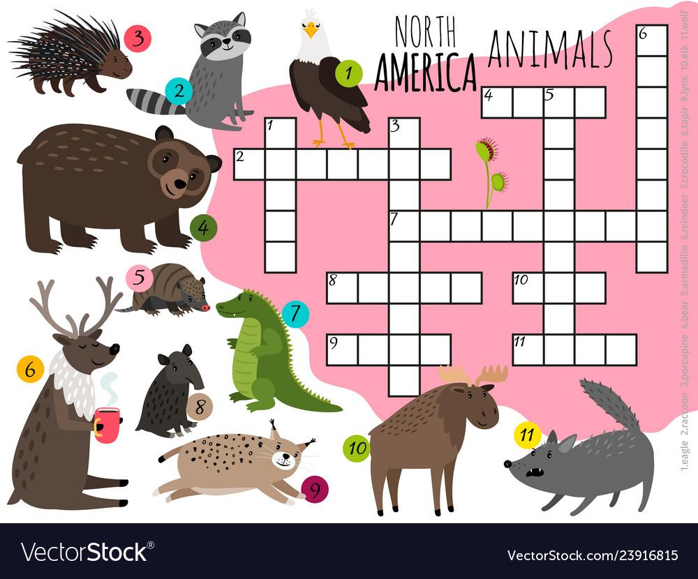 Cartoon north america animals kids crossword