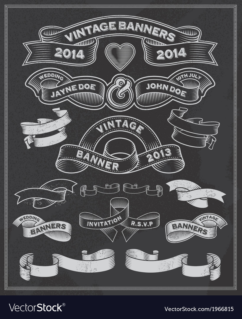 Chalkboard scrolls and banners vector image