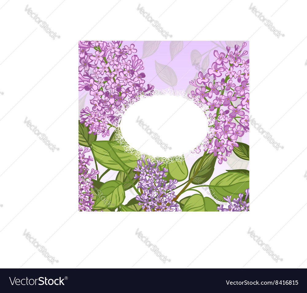 Floral card with lilacs on pink background