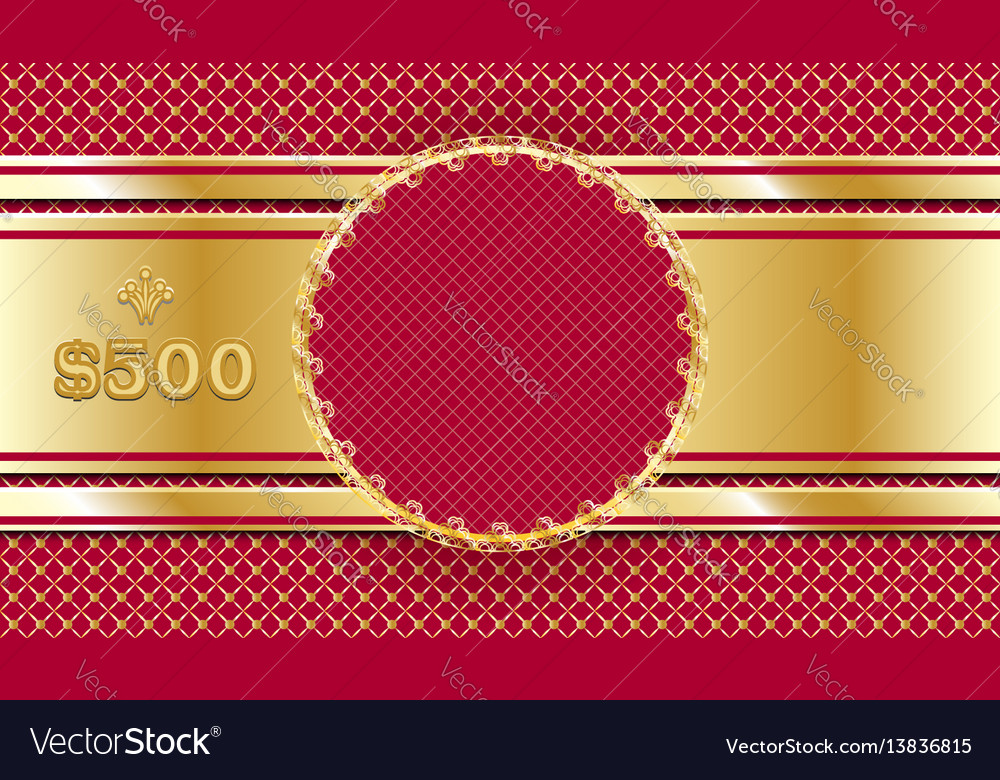 Gift voucher in gold and red template design