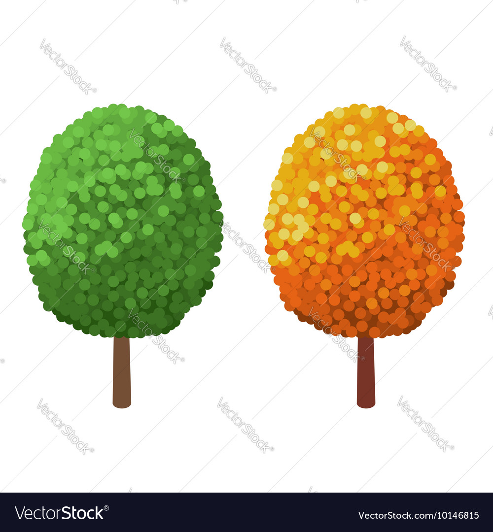 Green Tree and yellow Tree isolated on a white vector image