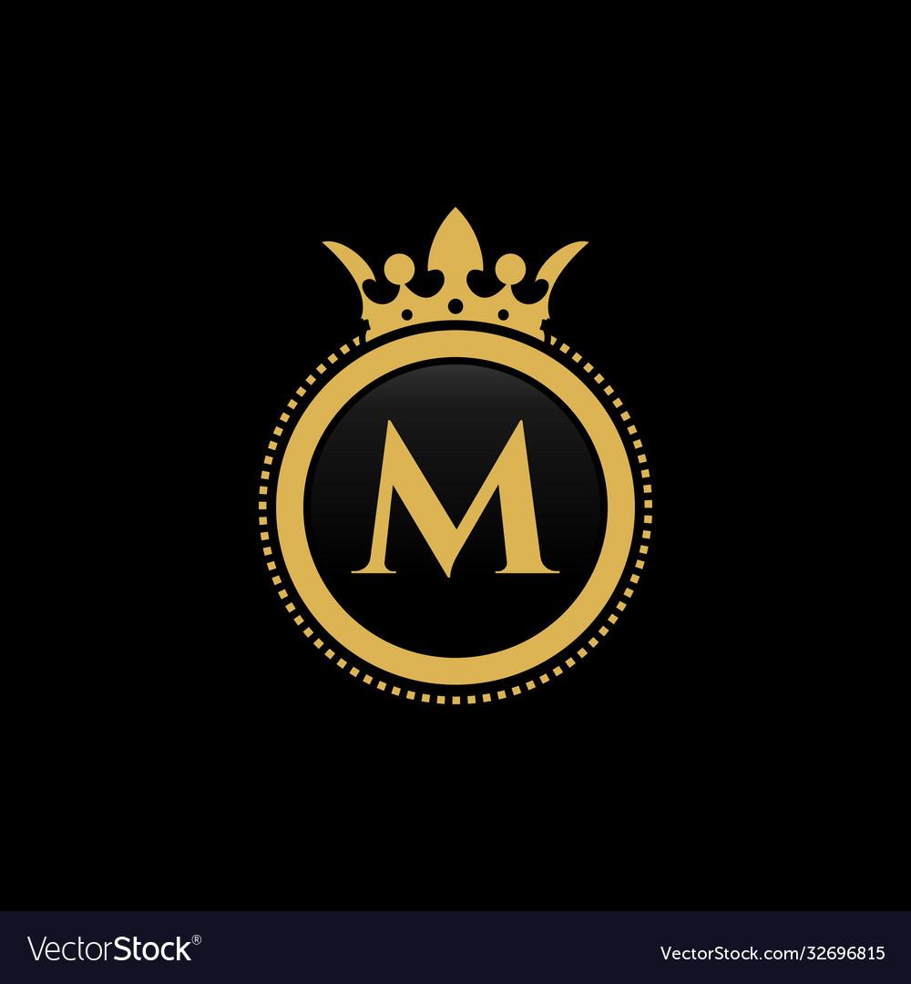Letter m royal crown luxury logo design