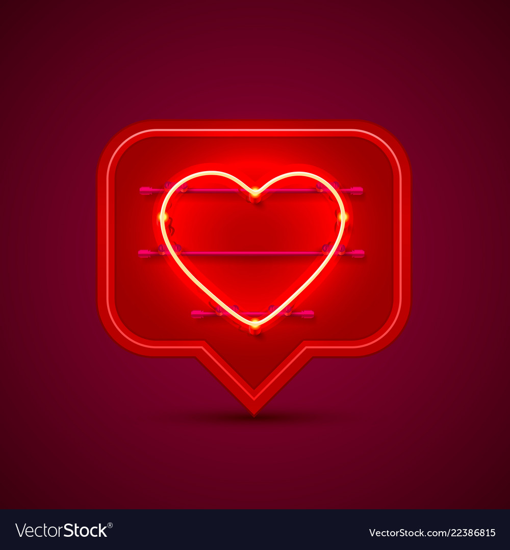 Neon frame chat sign in the shape of a heart