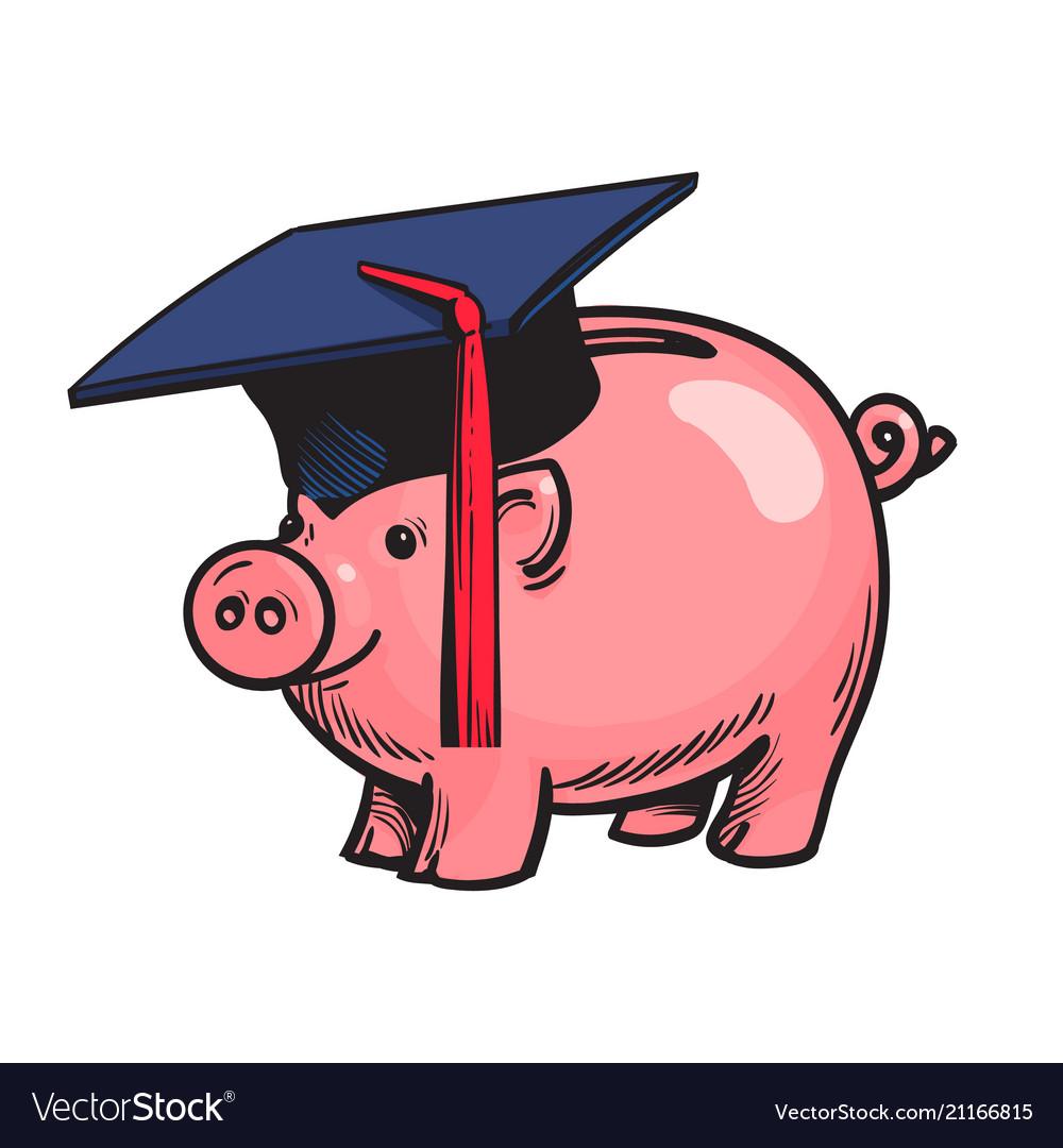 Piggy bank in graduation hat