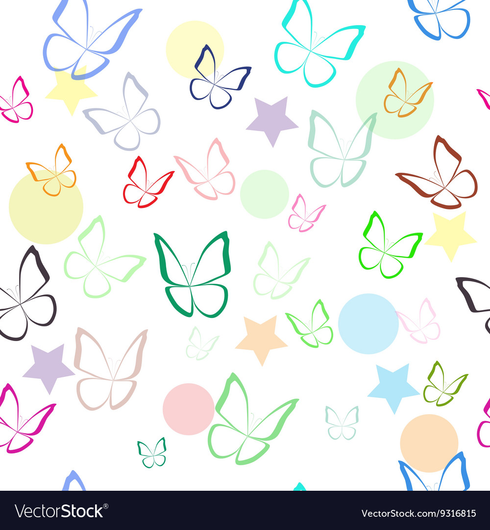 Seamless pattern with colorful hand drawn outline