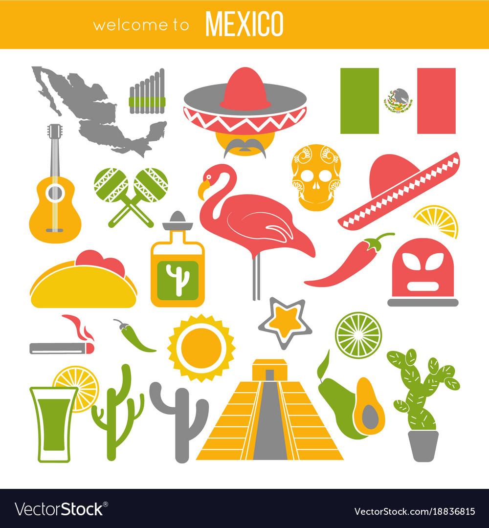 Set Of Mexico Travel Symbols Mexican Flat Vector Image