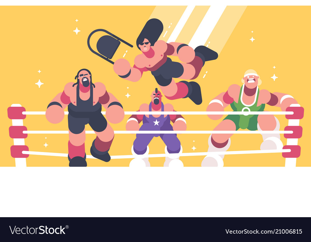Strong and powerful wrestlers in ring