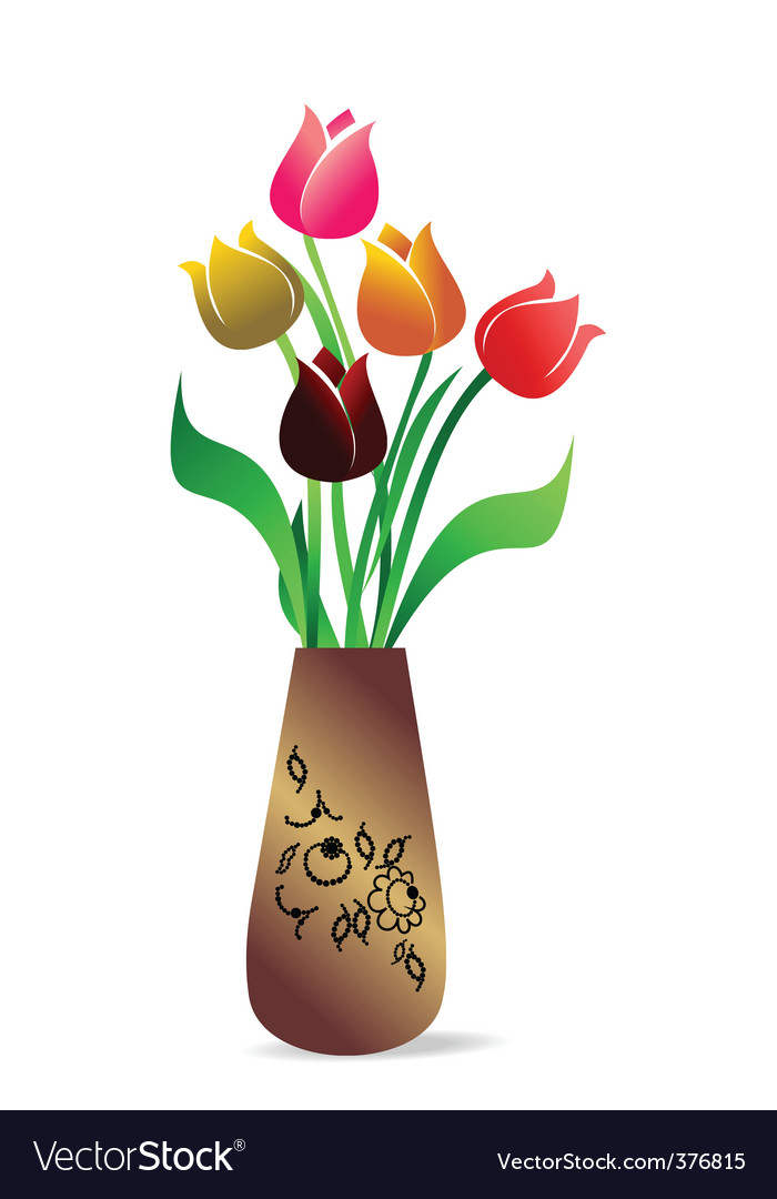 Vase With Tulips Royalty Free Vector Image Vectorstock