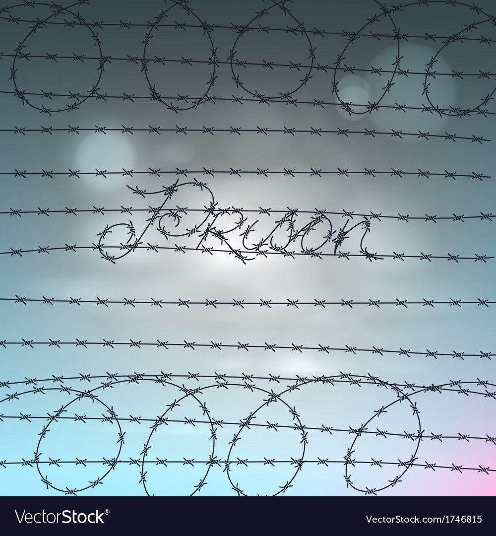 Word prison written by a barbed wire Royalty Free Vector