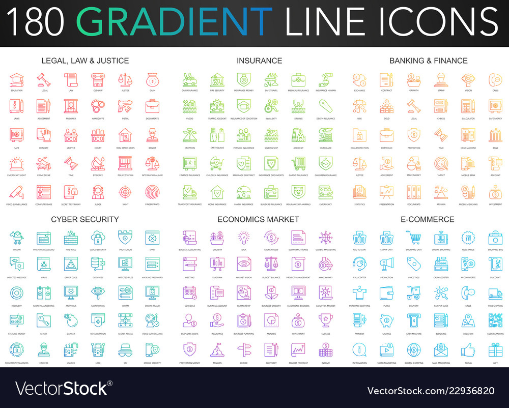 180 trendy gradient thin line icons set of