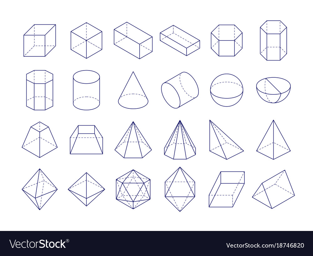 3d geometric shapes outline objects