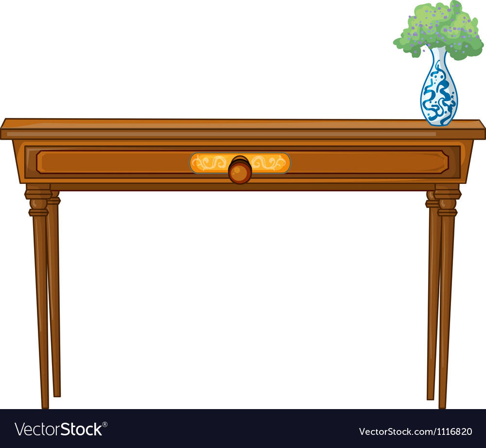 A table and a flowerpot