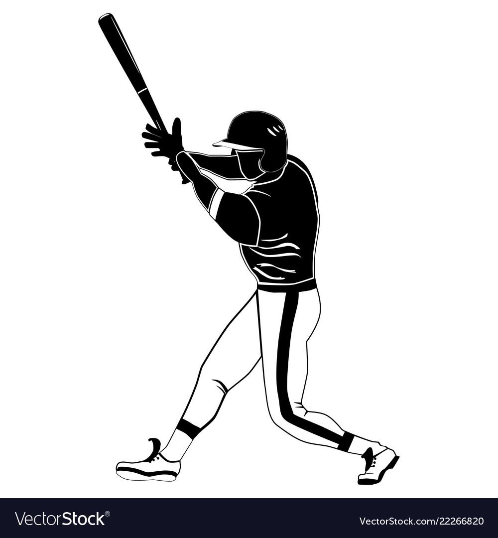 Black baseball batter on white