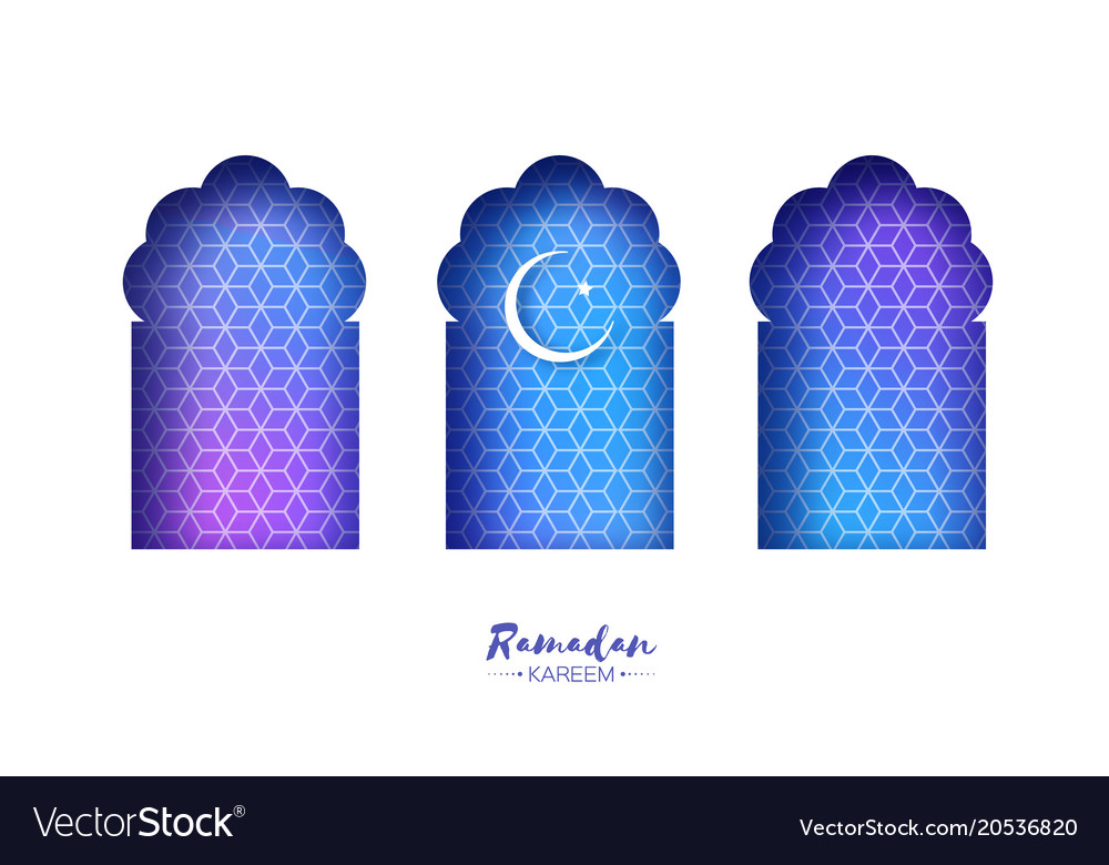 Blue arabic window arch in paper cut style
