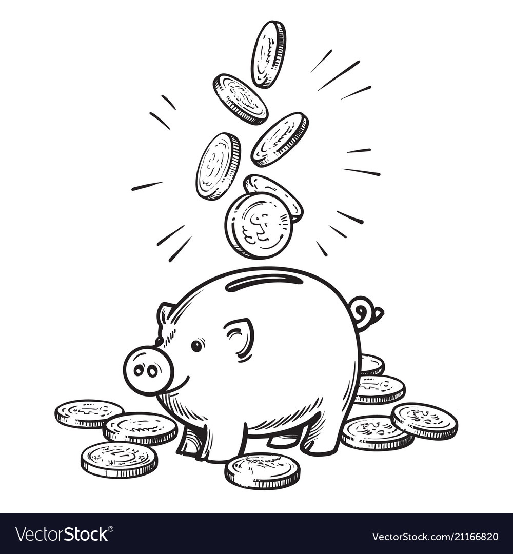 Cartoon piggy bank with falling coins black and