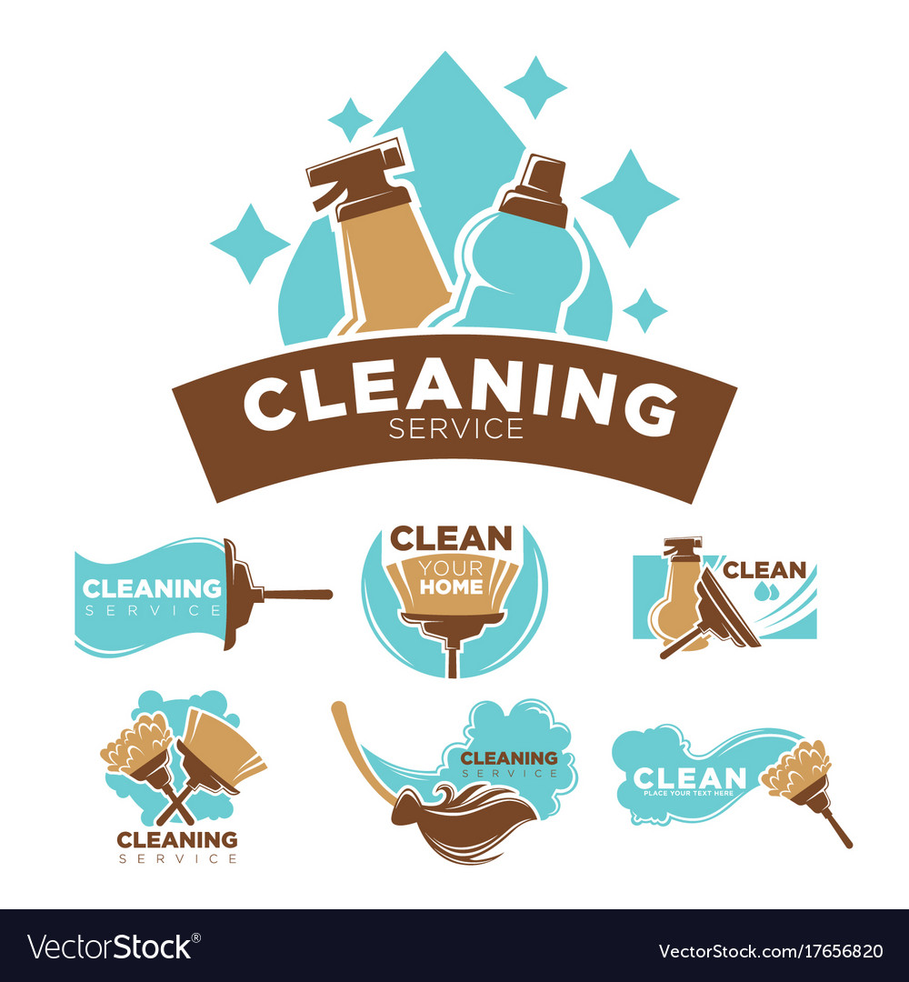 Cleaning service promotional emblems set with