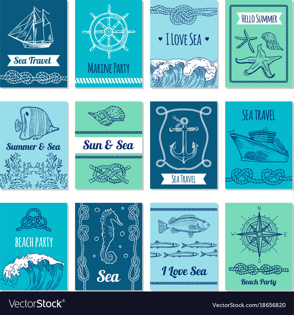 Design template of cards with marine symbols in