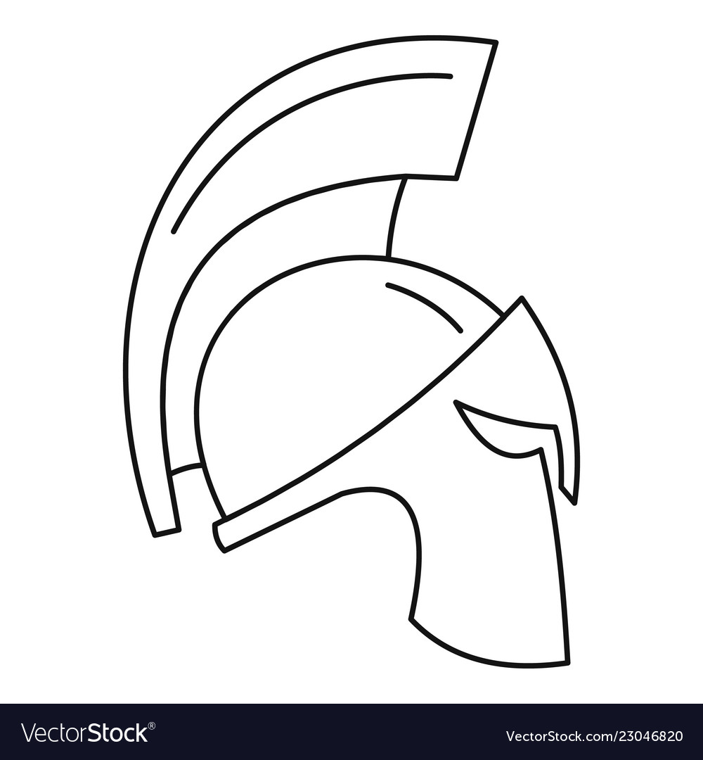 d48b41a279c Gold sparta helmet icon outline style Royalty Free Vector