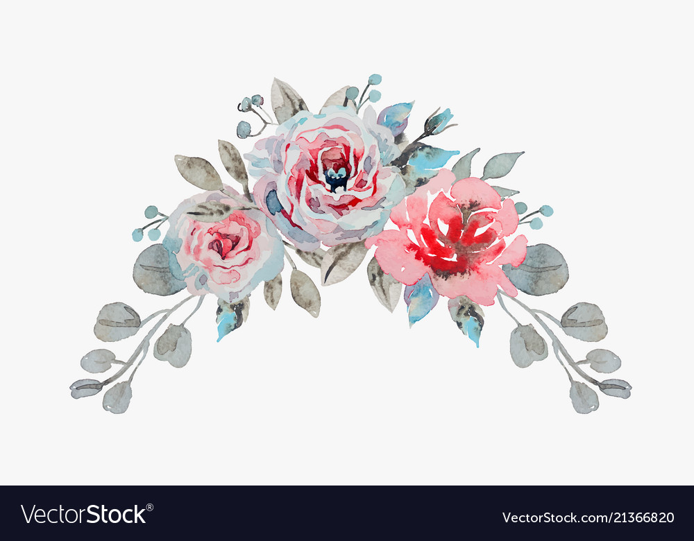 Handmade watercolor bouquet of flowers - rose