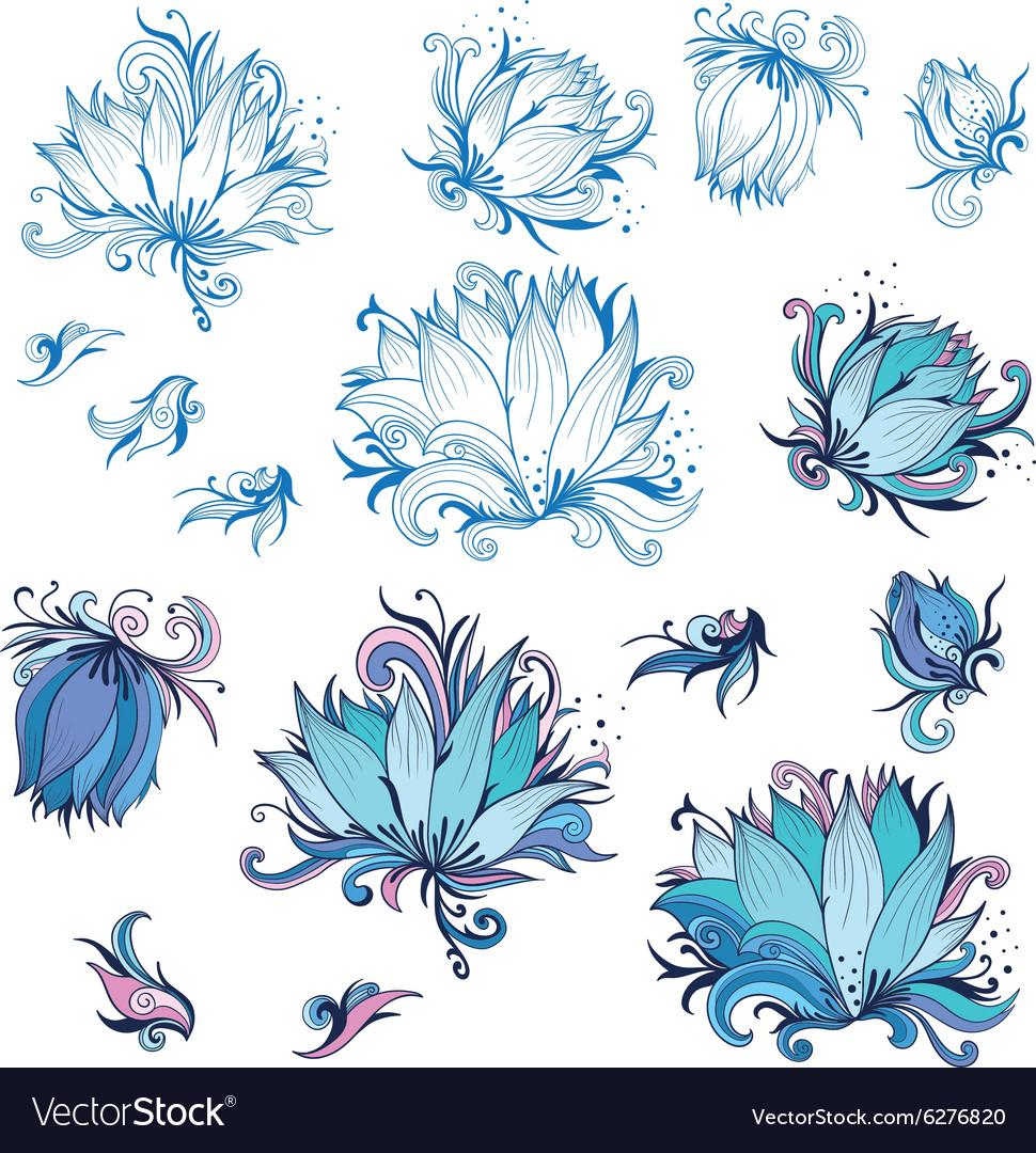 Lily Flower Design Elements Set