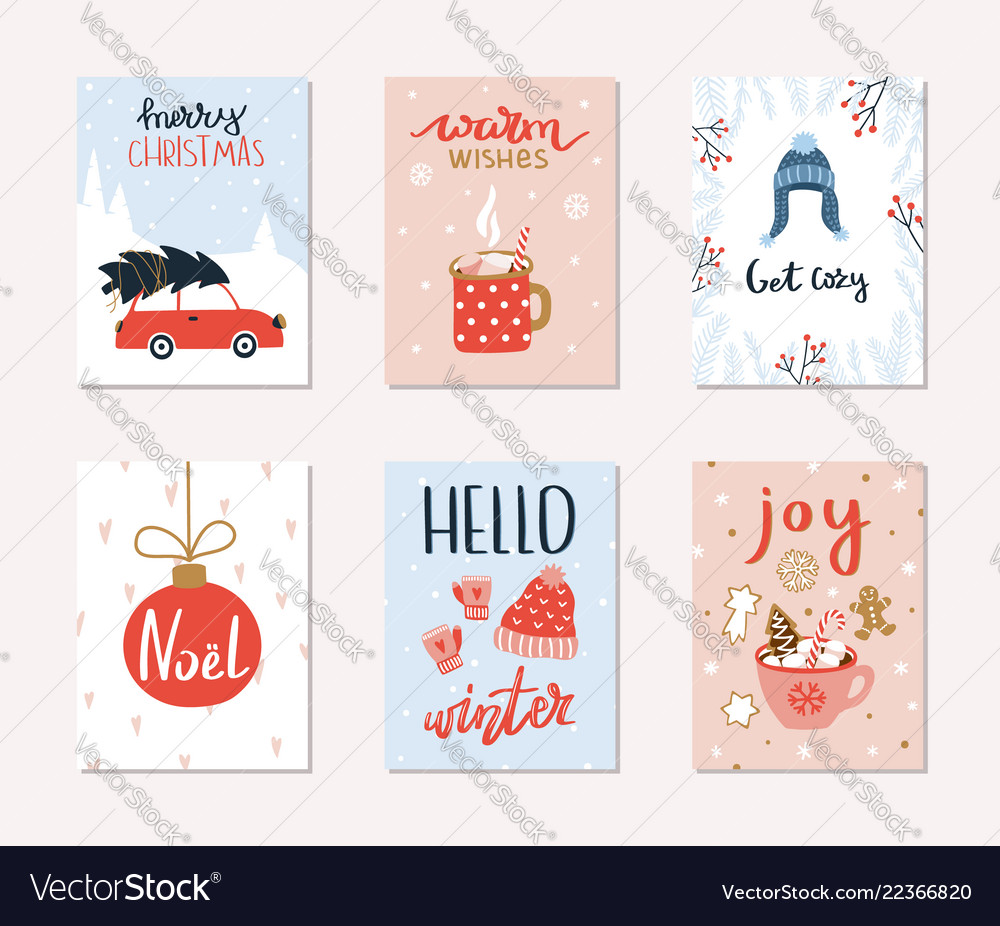 Set of 6 merry christmas and happy new year gift