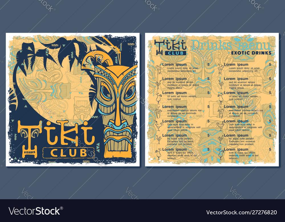 Tiki bar club menu template design drinks flyer
